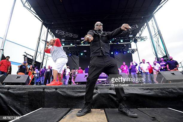 Vin Rock DJ Kay Gee and Treach of Naughty by Nature performs at 90sFEST Pop Culture and Music Festival on September 12 2015 in Brooklyn New York