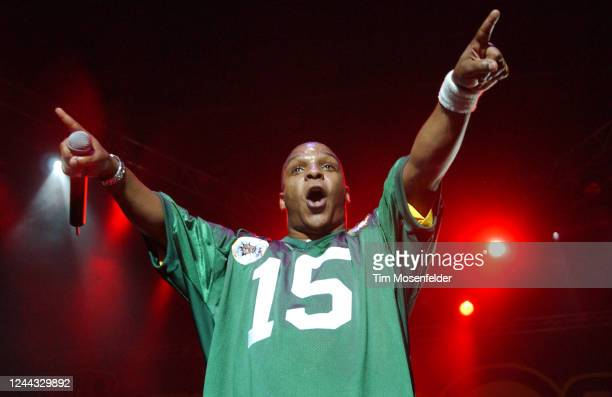Vin Rock of Naughty By Nature performs during Wild 94.9's The Bomb at HP Pavilion on May 15, 2003 in San Jose, California.