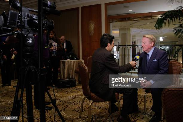 Vin Scully attends the HRTS Newsmaker Luncheon honoring the broadcast legend at the Beverly Wilshire Hotel on November 10, 2009 in Beverly Hills,...