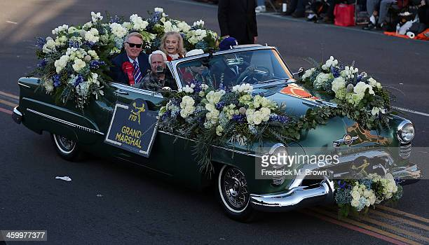 Vin Scully, The Grand Marshall of the 125th Rose Parade, on the parade route on January 1, 2014 in Pasadena, California.