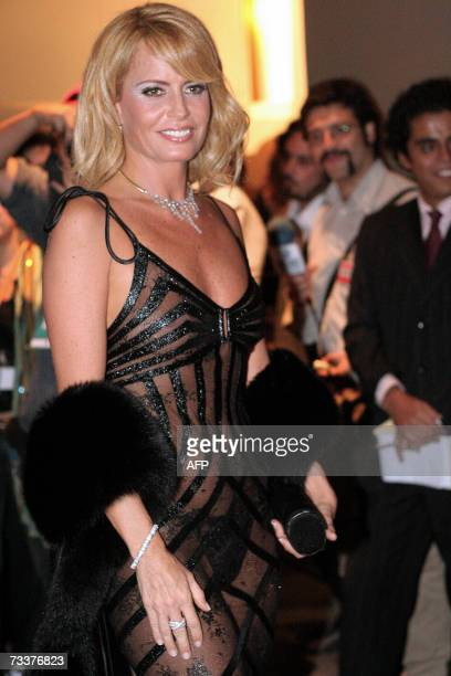 Chilean television entertainer Cecilia Bolocco former Miss Universe 1987 and wife of Argentine former president Carlos Menem poses during the gala...