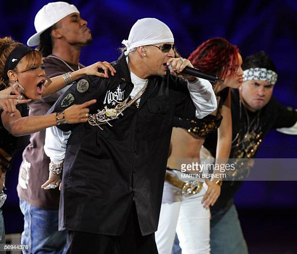 Puerto Rican reggaeton singer Daddy Yankee performs during his presentation at the Vina del Mar International Song Festival 27 February, 2006. AFP...