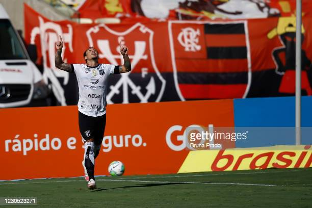 Vina of Ceara celebrates after scoring the first goal of his team during the match between Flamengo and Ceara as part of the Brasileirao Series A at...