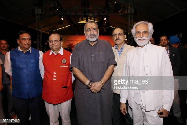 Vinay Kumar Saxena Union Minster of State for Micro Small and Medium Enterprises Giriraj Singh Dr Arun Kumar Panda with Sunil Sethi president FDCI...