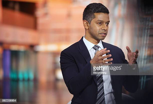 Vinay Nair cochairman at 55 Capital speaks during a Bloomberg Television interview in New York US on Friday Aug 19 2016 Nair discussed the firm's...