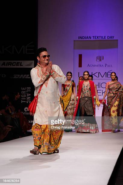 Vinay Pathak showcases designs by Agnimitra Paul on the runway during day four of Lakme Fashion Week Summer/Resort 2013 on March 25 2013 at Grand...