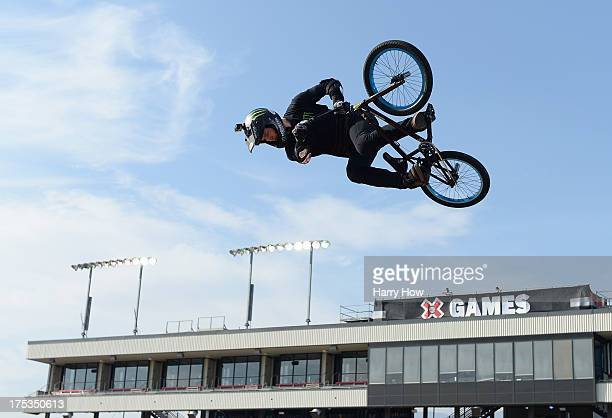 Vince Byron of Australia practices for the GoPro BMX Big Air Final during X Games Los Angeles at the Irwindale Event Center on August 2 2013 in...