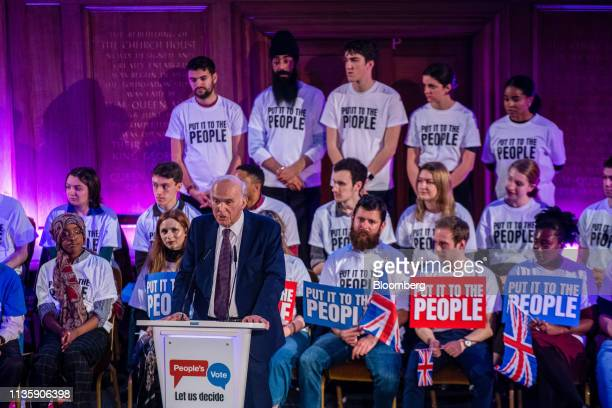 Vince Cable leader of the Liberal Democrats party speaks during a People's Vote rally in the Westminster district of London UK on Tuesday April 9...