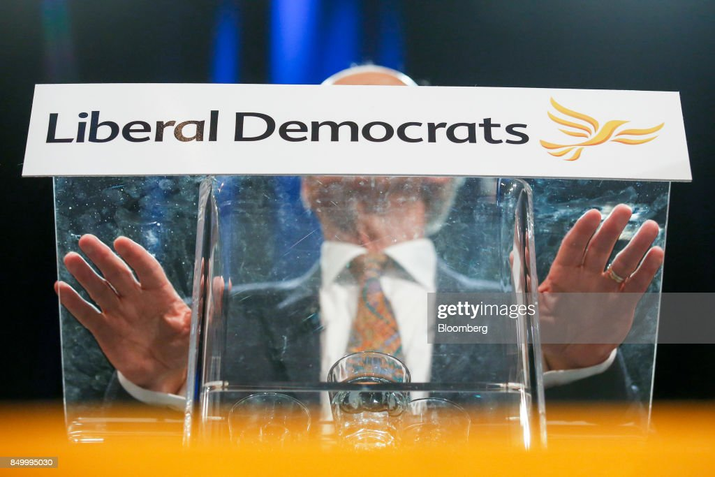 Vince Cable, leader of the U.K.'s Liberal Democrat Party, delivers his keynote speech at the party's annual conference in Bournemouth, U.K., on Tuesday, Sept. 19, 2017. Cable said U.K. Prime Minister Theresa May should fire her foreign secretary, Boris Johnson, over an article he published on Saturday about Britains departure from the European Union. Photographer: Luke MacGregor/Bloomberg via Getty Images