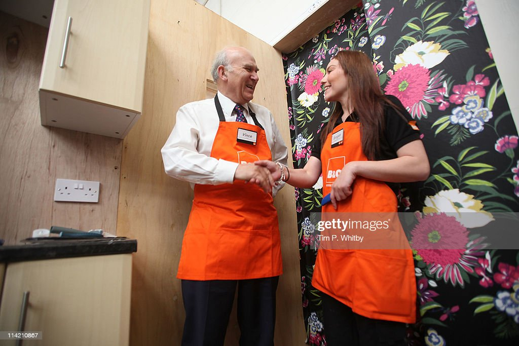 Vince Cable MP, Secretary of State for Business, tries out a 'You Can Do It' DIY class on a visit to B&Q in Sutton to launch a consultation aimed at creating and supporting family friendly work places on May 11, 2011 in Sutton, Greater London. B&Q has long been recognised as a leader in the field with its positive recruitment policies and flexible working opportunitites.
