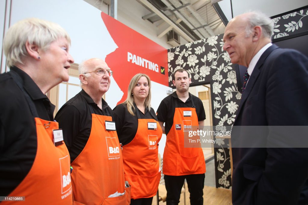 Vince Cable MP, Secretary of State for Business, visits the B&Q store in Sutton to launch a consultation to create and support family friendly work places on May 11, 2011 in Sutton, Greater London. B&Q has long been recognised as a leader in the field with its positive recruitment policies and flexible working opportunitites.
