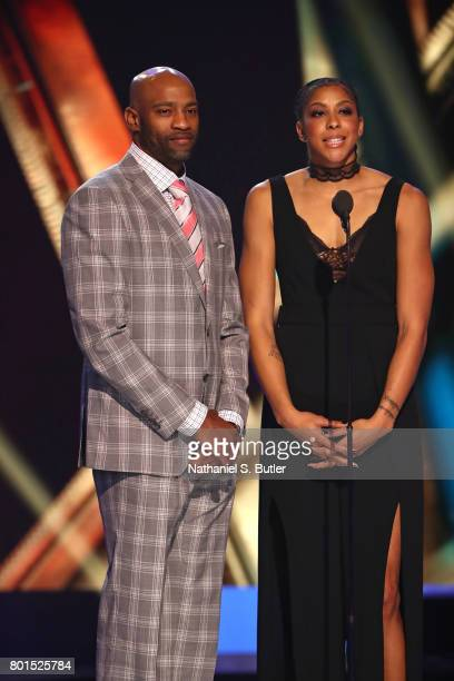 Vince Carter and Candace Parker presents the TwymanStokes Teammate of the Year Award at the NBA Awards Show on June 26 2017 at Basketball City at...