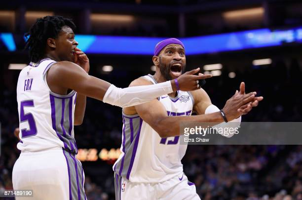 Vince Carter and De'Aaron Fox of the Sacramento Kings complain about a call during their game against the Oklahoma City Thunder at Golden 1 Center on...