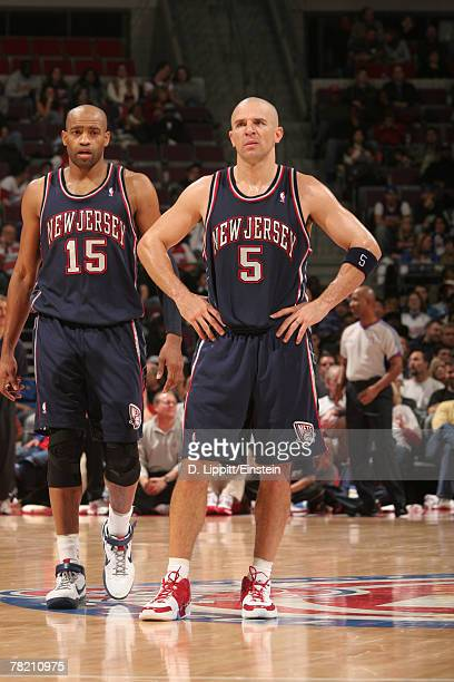 Vince Carter and Jason Kidd of the New Jersey Nets during a game against the Detroit Pistons on December 2, 2007 at the Palace of Auburn Hills in...