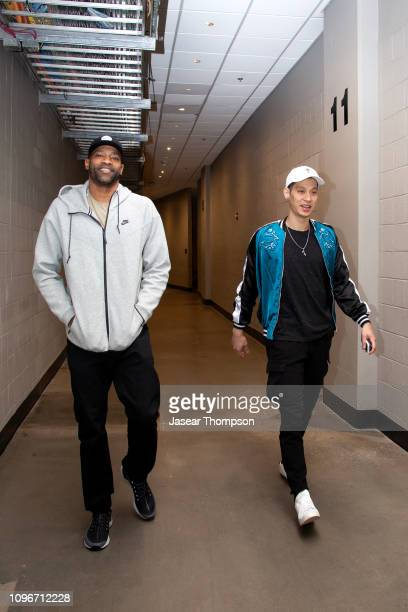 Vince Carter and Jeremy Lin of the Atlanta Hawks arrive before the game against the Charlotte Hornets on February 9 2019 at State Farm Arena in...