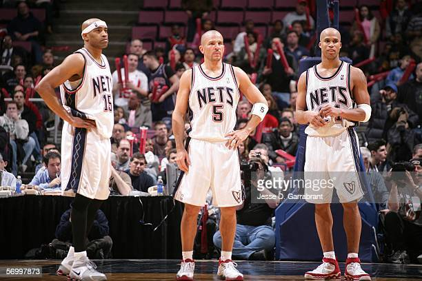 Vince Carter, Jason Kidd and Richard Jefferson of the New Jersey Nets during overtime against the Toronto Raptors on March 4, 2006 at the Continental...