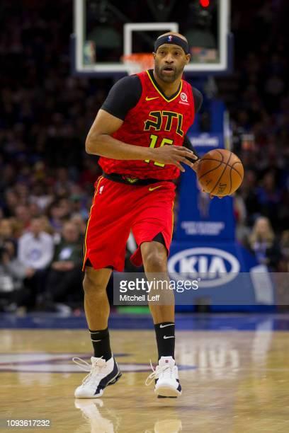 Vince Carter of the Atlanta Hawks dribbles the ball against the Philadelphia 76ers at the Wells Fargo Center on January 11 2019 in Philadelphia...