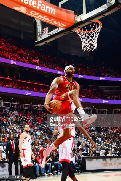 Vince Carter of the Atlanta Hawks drives to the basket during the game against the Toronto Raptors on November 21 2018 at the State Farm Arena in...