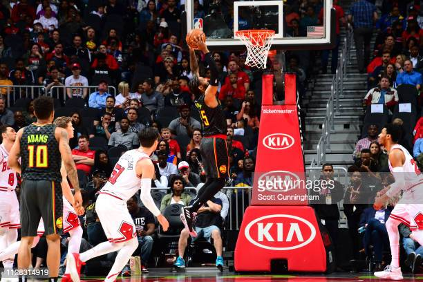 Vince Carter of the Atlanta Hawks dunks against the Chicago Bulls on March 1 2019 at State Farm Arena in Atlanta Georgia NOTE TO USER User expressly...