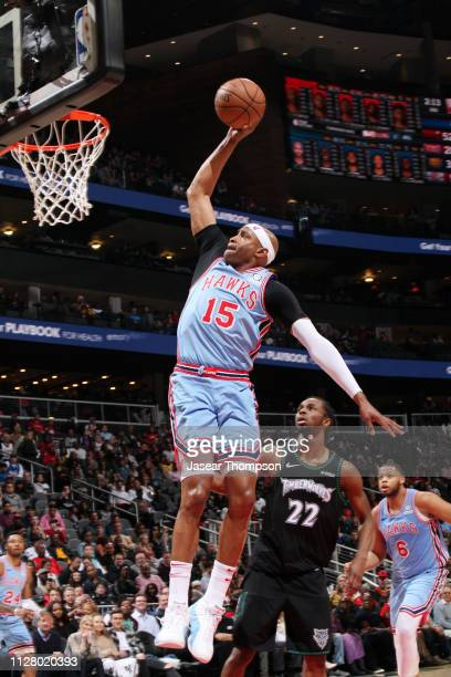 Vince Carter of the Atlanta Hawks dunks the ball during the game against the Minnesota Timberwolves on February 27, 2019 at State Farm Arena in...