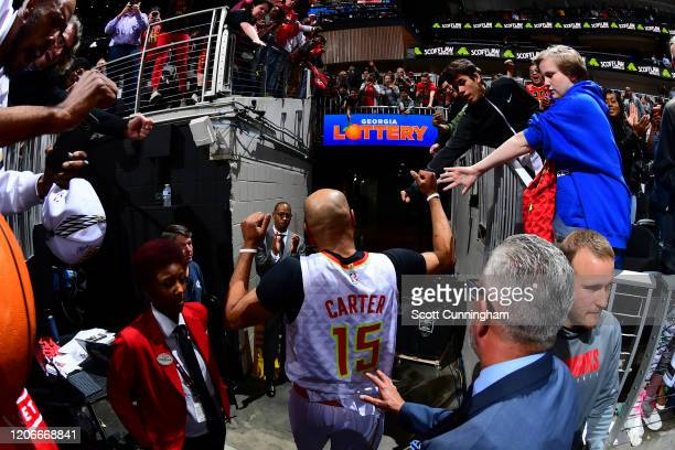 Vince Carter of the Atlanta Hawks fist bumps the fans after the game against the New York Knicks on March 11, 2020 at State Farm Arena in Atlanta,...