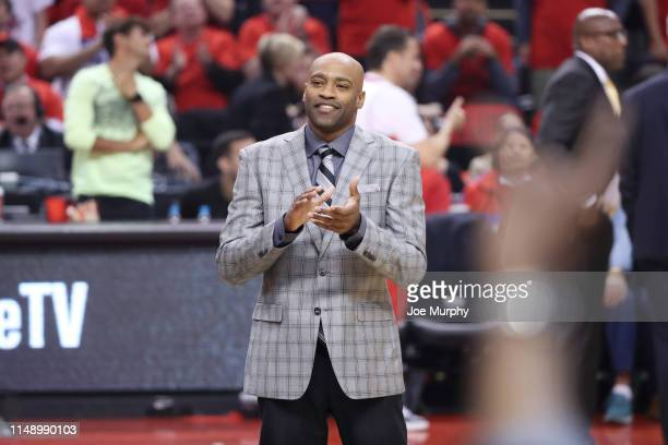 Vince Carter of the Atlanta Hawks, former Toronto Raptors player is honored during the game between the Golden State Warriors and Toronto Raptors in...