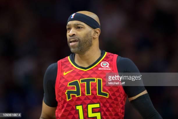 Vince Carter of the Atlanta Hawks in action against the Philadelphia 76ers at the Wells Fargo Center on January 11 2019 in Philadelphia Pennsylvania...