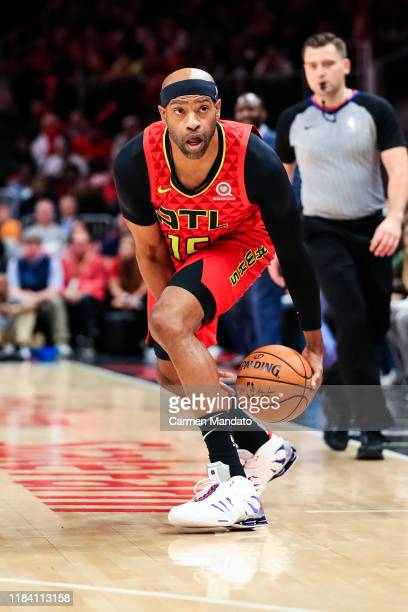 Vince Carter of the Atlanta Hawks in action during a game against the Orlando Magic at State Farm Arena on October 26, 2019 in Atlanta, Georgia. NOTE...