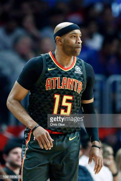 Vince Carter of the Atlanta Hawks looks on during a game against the LA Clippers on January 28 2019 at STAPLES Center in Los Angeles California NOTE...