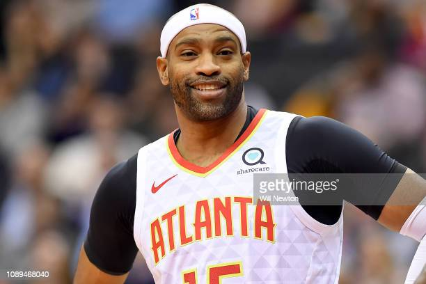 Vince Carter of the Atlanta Hawks looks on during the first half against the Washington Wizards at Capital One Arena on January 2 2019 in Washington...
