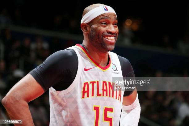 Vince Carter of the Atlanta Hawks looks on during the game against the Washington Wizards on January 2 2019 at Capital One Arena in Washington DC...