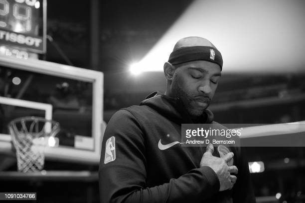 Vince Carter of the Atlanta Hawks looks on during the national anthem prior to the game against the LA Clippers on January 28 2019 at STAPLES Center...