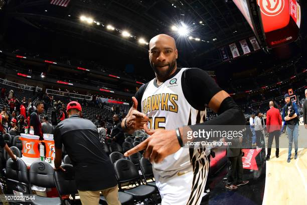 Vince Carter of the Atlanta Hawks poses for a photo after a game against the Denver Nuggets on December 8 2018 at State Farm Arena in Atlanta Georgia...