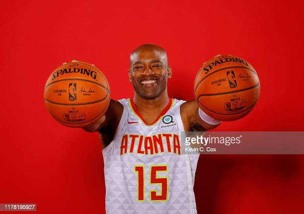 Vince Carter of the Atlanta Hawks poses for portraits during media day at Emory Sports Medicine Complex on September 30 2019 in Atlanta Georgia