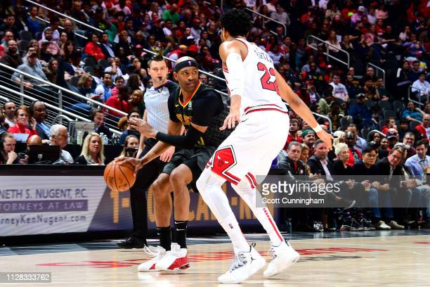 Vince Carter of the Atlanta Hawks posts up on Otto Porter Jr #22 of the Chicago Bulls on March 1 2019 at State Farm Arena in Atlanta Georgia NOTE TO...