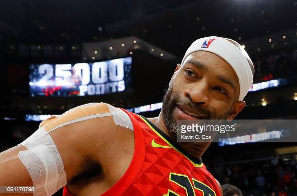 Vince Carter of the Atlanta Hawks reacts after scoring his 25000th NBA point in the final seconds of their 124108 loss to the Toronto Raptors at...