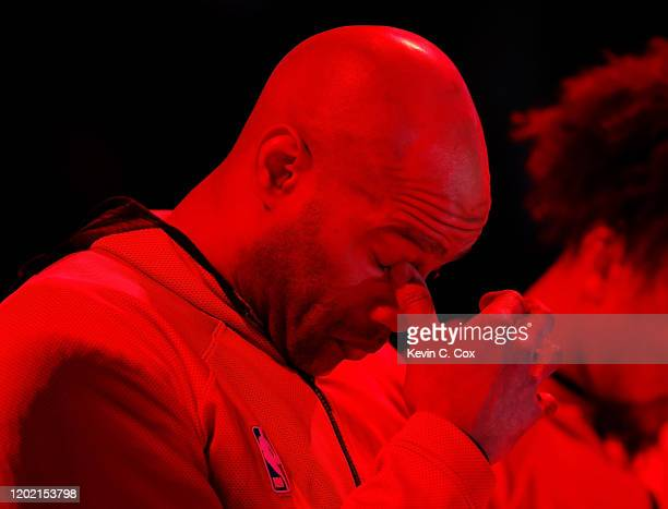 Vince Carter of the Atlanta Hawks reacts during the National Anthem prior to facing the Washington Wizards at State Farm Arena on January 26 2020 in...