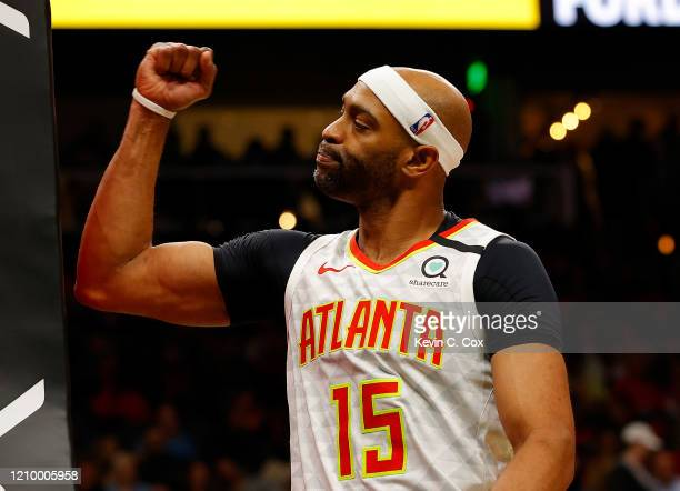 Vince Carter of the Atlanta Hawks reacts in the second half against the Memphis Grizzlies at State Farm Arena on March 02, 2020 in Atlanta, Georgia....