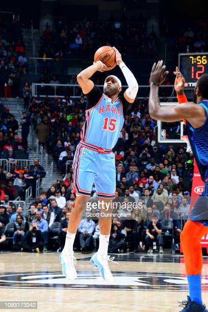 Vince Carter of the Atlanta Hawks shoots the ball during the game against the Oklahoma City Thunder on January 15 2019 at State Farm Arena in Atlanta...