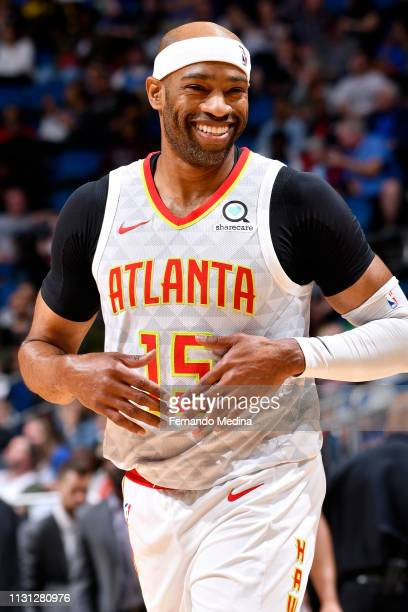Vince Carter of the Atlanta Hawks smiles on March 17 2019 at Amway Center in Orlando Florida NOTE TO USER User expressly acknowledges and agrees that...