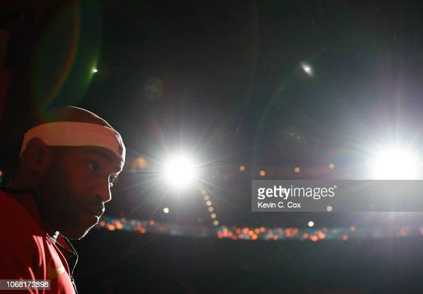 Vince Carter of the Atlanta Hawks stands during player introductions prior to the game against the Golden State Warriors at State Farm Arena on...