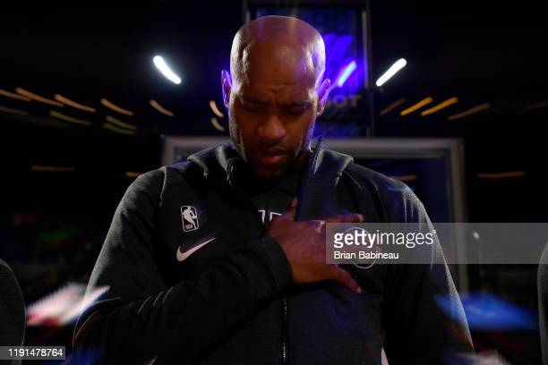 Vince Carter of the Atlanta Hawks stands for the National Anthem before the game against the Boston Celtics on January 3 2020 at the TD Garden in...