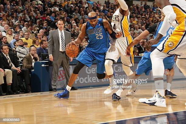 Vince Carter of the Dallas Mavericks drives against the Indiana Pacers at Bankers Life Fieldhouse on February 12 2014 in Indianapolis Indiana NOTE TO...