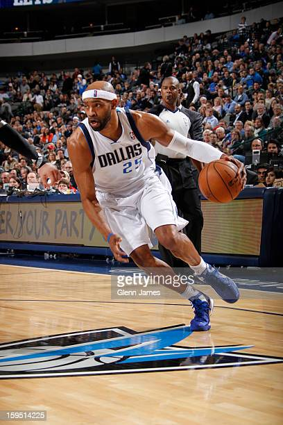 Vince Carter of the Dallas Mavericks drives against the Minnesota Timberwolves on January 14 2013 at the American Airlines Center in Dallas Texas...