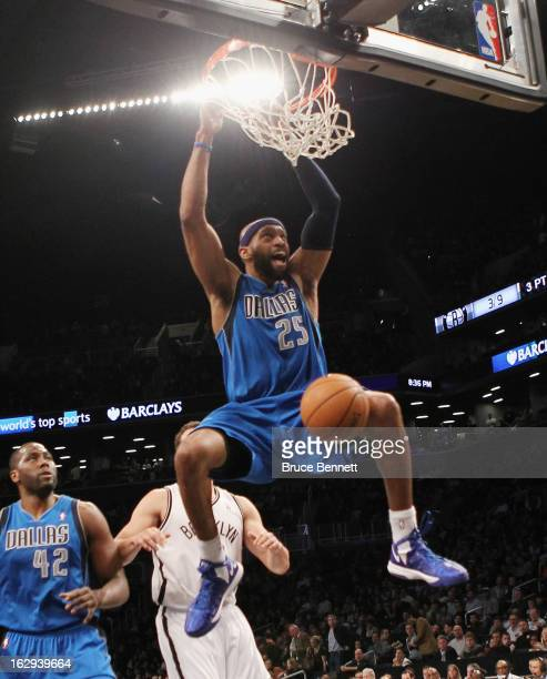 Vince Carter of the Dallas Mavericks sinks a basket in the second quarter against the Brooklyn Nets at the Barclays Center on March 1 2013 in New...