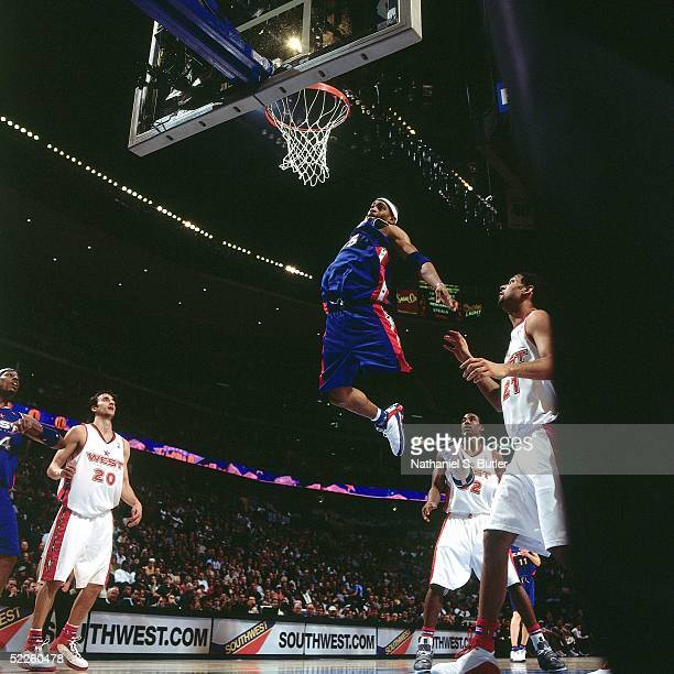Vince Carter of the Eastern Conference AllStars dunks against the Western Conference AllStars during the 2005 AllStar Game on February 20 2005 at The...