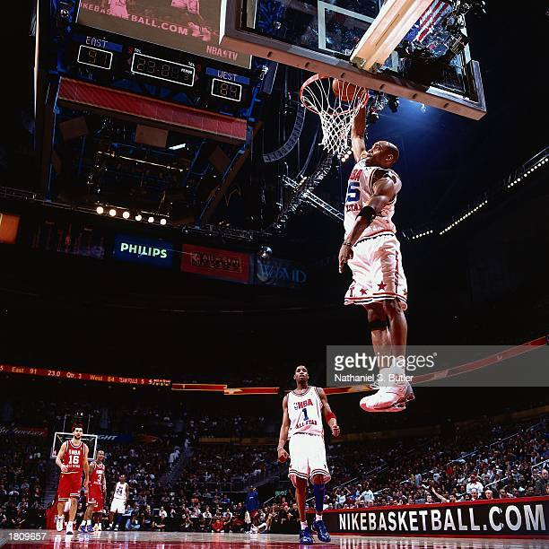 Vince Carter of the Eastern Conference AllStars goes up for a slam dunk against the Western Conference during the 52nd NBA AllStar Game at the...