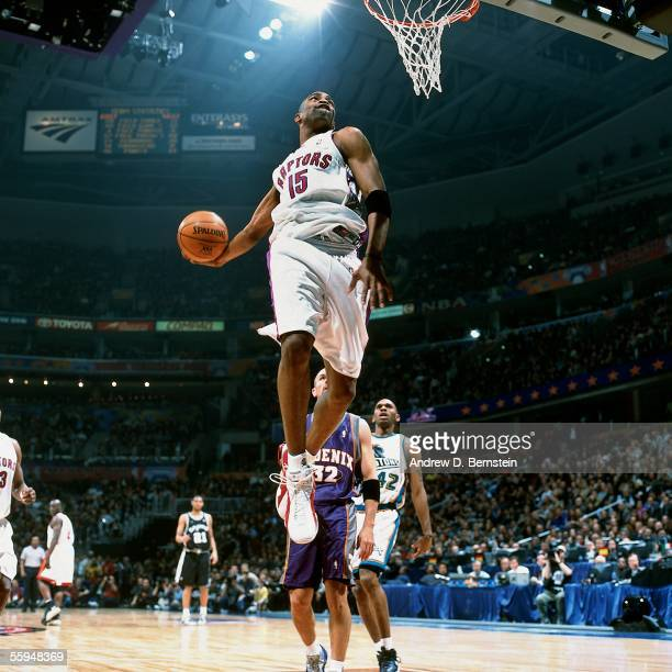 Vince Carter of the Eastern Conference AllStars goes up for a slam dunk against the Western Conference AllStars during the 2000 NBA AllStar game at...