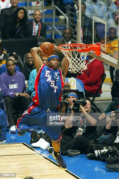 Vince Carter of the Eastern Conference attempts to dunk against the Western Conference during the NBA AllStar Game at the Staples Center on February...