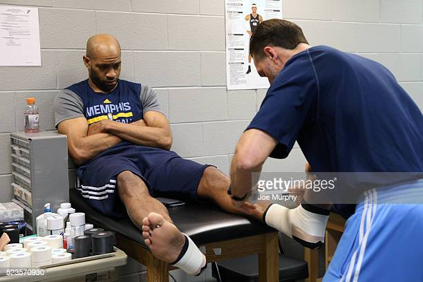 Vince Carter of the Memphis Grizzlies gets his ankle wrapped before the game against the San Antonio Spurs in Game Two of the Western Conference...